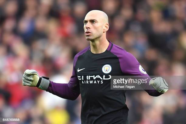 Willy Caballero of Manchester City celebrates after his sides second goal during the Premier League match between Sunderland and Manchester City at...