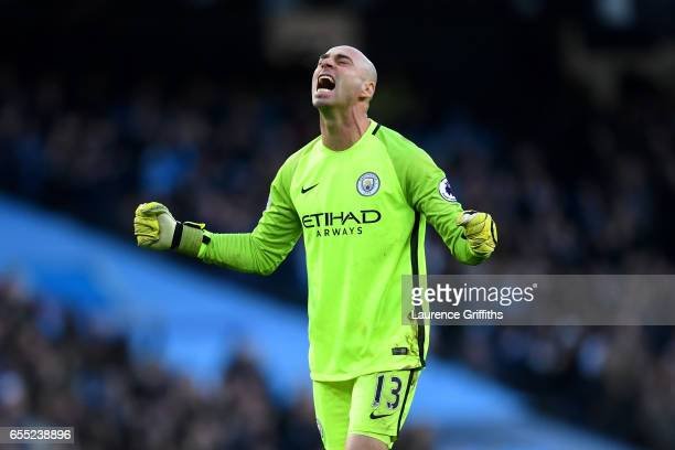 Willy Caballero of Manchester City celebrates his sides first goal during the Premier League match between Manchester City and Liverpool at Etihad...