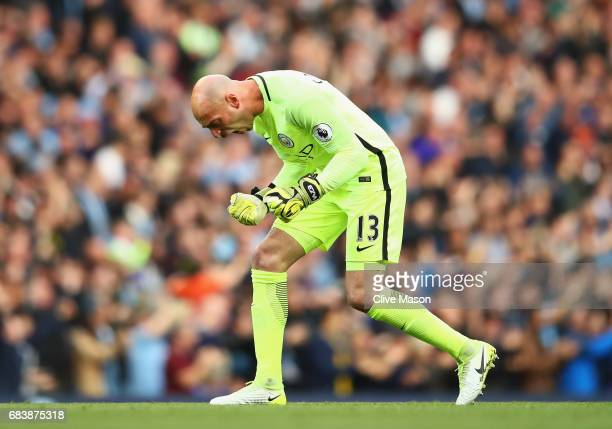 Willy Caballero of Manchester City celebrates his sides first goal during the Premier League match between Manchester City and West Bromwich Albion...