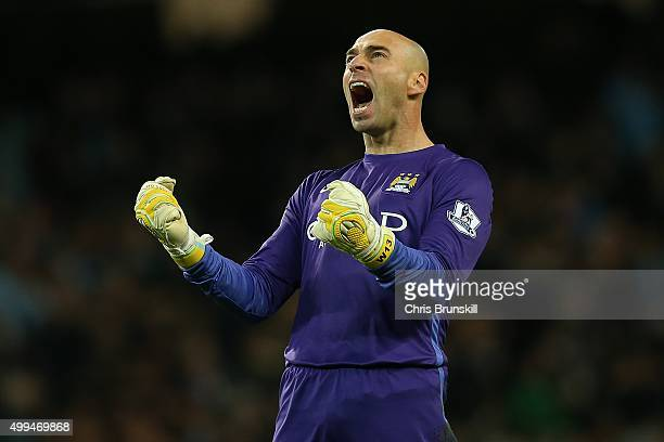 Willy Caballero of Manchester City celebrates his side's fourth goal during the Capital One Cup Quarter Final match between Manchester City and Hull...