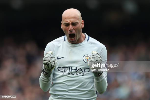 Willy Caballero of Manchester City celebrates his sides third goal during the Premier League match between Manchester City and Crystal Palace at the...