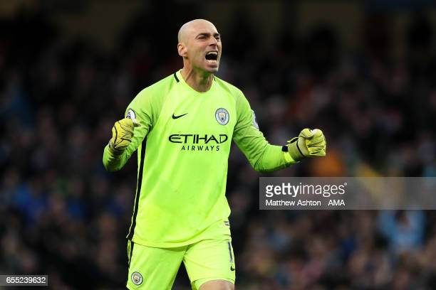Willy Caballero of Manchester City celebrates his team's first goal which made the score 11 during the Premier League match between Manchester City...