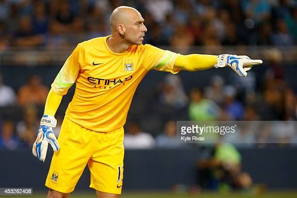Willy Caballero of Manchester City directs his teammates against the Sporting KC defense on July 23rd at Sporting Park in Kansas City Kansas