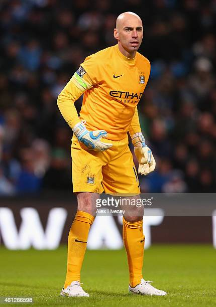 Willy Caballero of Manchester City during the Barclays Premier League match between Manchester City and Sunderland at Etihad Stadium on January 1...
