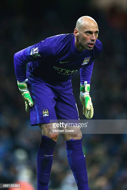 Willy Caballero of Manchester City during the Barclays Premier League match between Manchester City and Southampton at the Etihad Stadium on November...