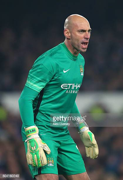 Willy Caballero of Manchester City during the Capital One Cup Semi Final First Leg match between Everton and Manchester City at Goodison Park on...