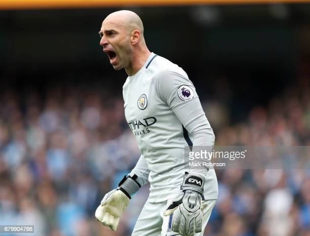 Willy Caballero of Manchester City during the Premier League match between Manchester City and Crystal Palace at Etihad Stadium on May 6 2017 in...