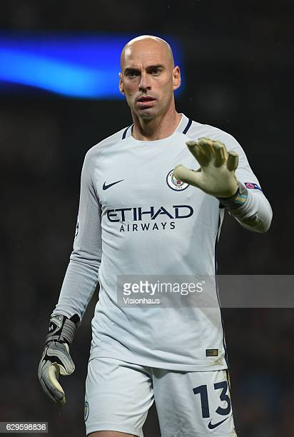Willy Caballero of Manchester City during the UEFA Champions League match between Manchester City FC and Celtic FC at Etihad Stadium on December 6...