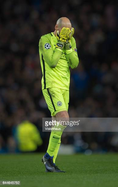 Willy Caballero of Manchester City during the UEFA Champions League Round of 16 first leg match between Manchester City FC and AS Monaco at Etihad...