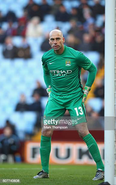 Willy Caballero of Manchester City in action during the Emirates FA Cup fourth round match between Aston Villa and Manchester City at Villa Park on...
