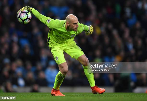 Willy Caballero of Manchester City in action during the Premier League match between Manchester City and Liverpool at Etihad Stadium on March 19 2017...