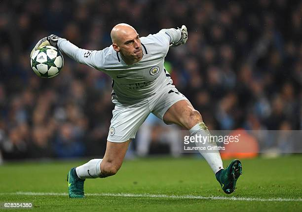 Willy Caballero of Manchester City in action during the UEFA Champions League match between Manchester City FC and Celtic FC at Etihad Stadium on...