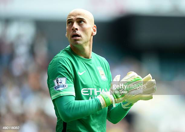 Willy Caballero of Manchester City looks on during the Barclays Premier League match between Tottenham Hotspur and Manchester City at White Hart Lane...