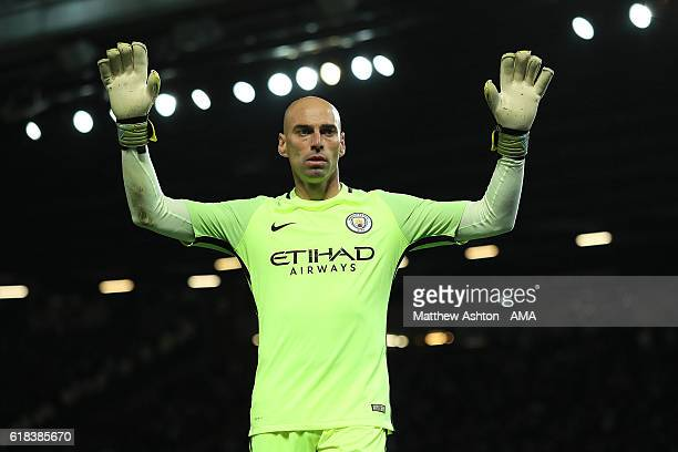 Willy Caballero of Manchester City looks on during the EFL Cup Fourth Round match between Manchester United and Manchester City at Old Trafford on...