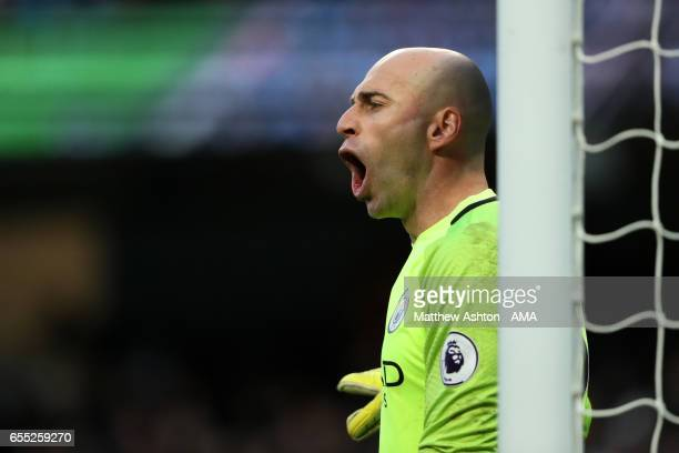 Willy Caballero of Manchester City reacts during the Premier League match between Manchester City and Liverpool at Etihad Stadium on March 19 2017 in...