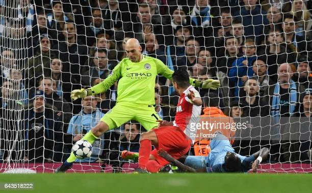 Willy Cabellero of Manchester City makes a save from Radamel Falcao Garcia of AS Monaco during the UEFA Champions League Round of 16 first leg match...