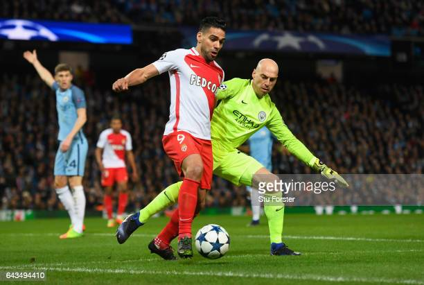 Willy Cabellero of Manchester City marshals Radamel Falcao Garcia of AS Monaco during the UEFA Champions League Round of 16 first leg match between...
