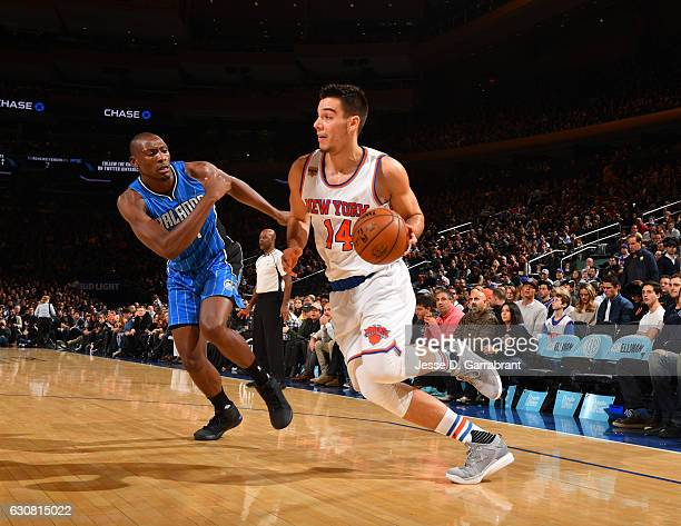 Willy Hernangomez of the New York Knicks drives to the basket against the Orlando Magic at Madison Square Garden on January 2 2017 in New YorkNew...