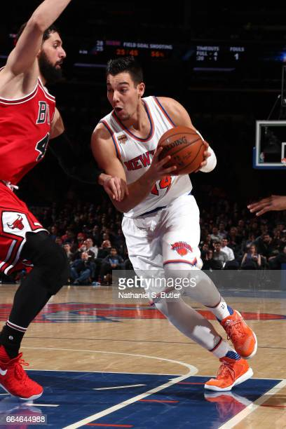 Willy Hernangomez of the New York Knicks drives to the basket against the Chicago Bulls on April 4 2017 at Madison Square Garden in New York City New...