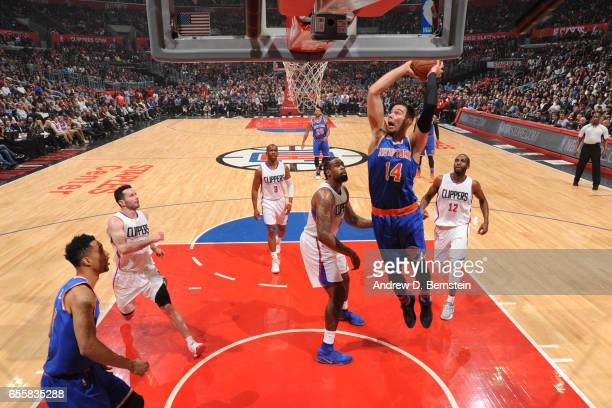 Willy Hernangomez of the New York Knicks dunks against LA Clippers on March 20 2017 at STAPLES Center in Los Angeles California NOTE TO USER User...
