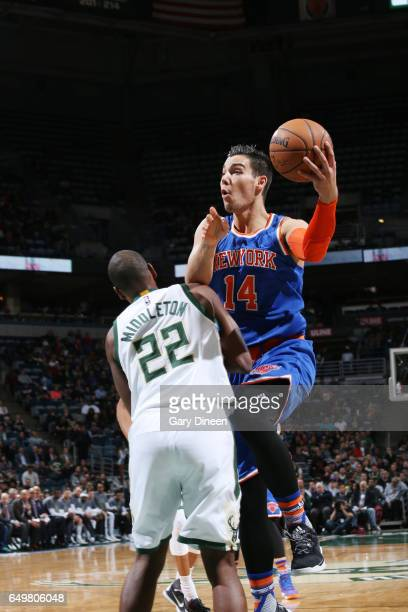 Willy Hernangomez of the New York Knicks goes for a lay up against the Milwaukee Bucks during the game on March 8 2017 at the BMO Harris Bradley...