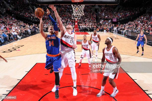 Willy Hernangomez of the New York Knicks goes for a lay up during the game against the Portland Trail Blazers on March 23 2017 at the Moda Center in...