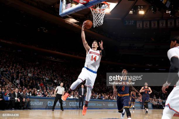 Willy Hernangomez of the New York Knicks goes to the basket against the Cleveland Cavaliers on February 4 2017 at Madison Square Garden in New York...