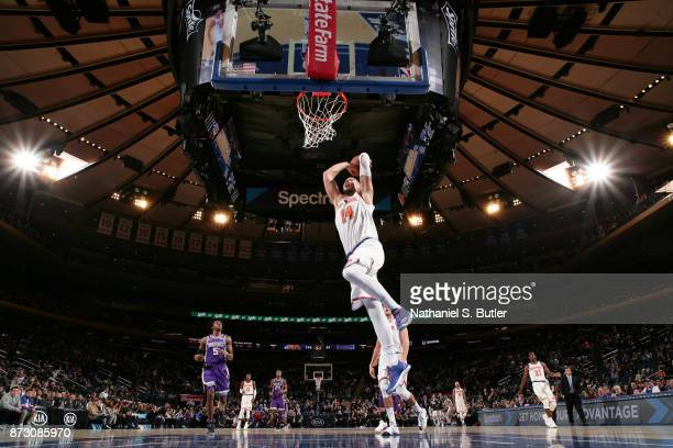 Willy Hernangomez of the New York Knicks goes to the basket against the Sacramento Kings on November 11 2017 at Madison Square Garden in New York...