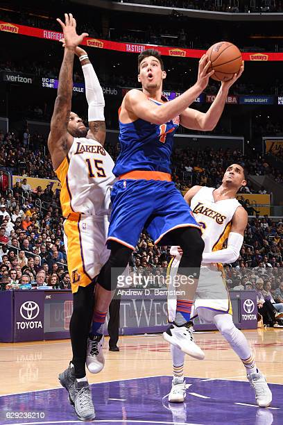 Willy Hernangomez of the New York Knicks goes up for a lay up against the Los Angeles Lakers on December 11 2016 at STAPLES Center in Los Angeles...