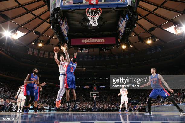 Willy Hernangomez of the New York Knicks goes up for a shot during a game against the Detroit Pistons on March 27 2017 at Madison Square Garden in...