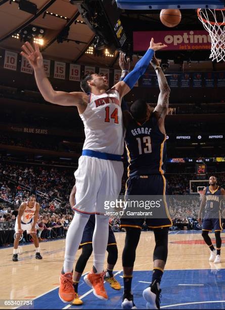 Willy Hernangomez of the New York Knicks goes up for the rebound against the Indiana Pacers at Madison Square Garden on March 14 2017 in New York New...