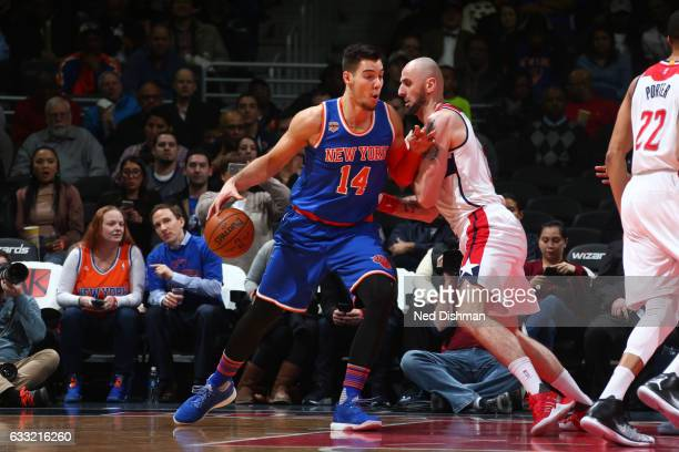 Willy Hernangomez of the New York Knicks handles the ball against the Washington Wizards on January 31 2017 at Verizon Center in Washington DC NOTE...
