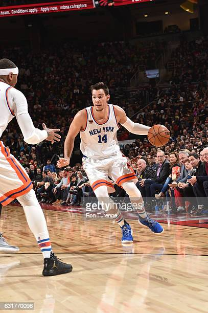 Willy Hernangomez of the New York Knicks handles the ball during a game against the Toronto Raptors on January 15 2017 at the Air Canada Centre in...