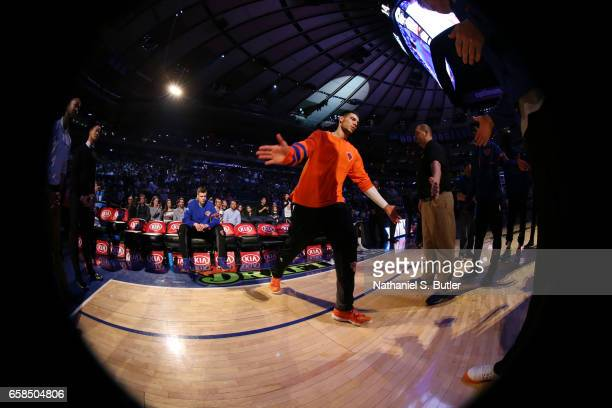 Willy Hernangomez of the New York Knicks is introduced before a game against the Detroit Pistons on March 27 2017 at Madison Square Garden in New...