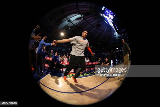 Willy Hernangomez of the New York Knicks is introduced before a game against the Washington Wizards on April 6 2017 at Madison Square Garden in New...