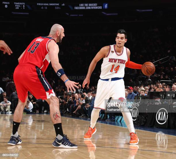 Willy Hernangomez of the New York Knicks looks to pass the ball during a game against the Washington Wizards on April 6 2017 at Madison Square Garden...