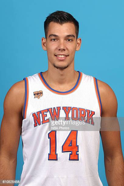 Willy Hernangomez of the New York Knicks poses for a head shot during media day at the Ritz Carlton in White Plains New York on September 26 2016...