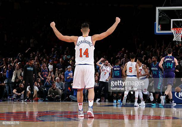 Willy Hernangomez of the New York Knicks reacts to a shot during the game against the Charlotte Hornets at Madison Square Garden in New York New York...