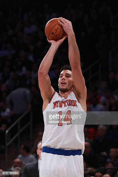 Willy Hernangomez of the New York Knicks shoots a jumper against the Oklahoma City Thunder during the second half at Madison Square Garden on...