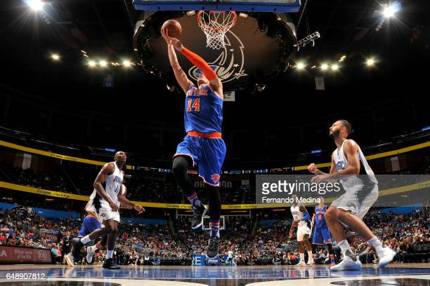 Willy Hernangomez of the New York Knicks shoots a lay up against the Orlando Magic during the game on March 6 2017 at Amway Center in Orlando Florida...