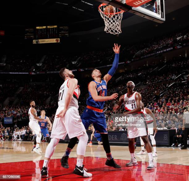 Willy Hernangomez of the New York Knicks shoots a lay up against the Portland Trail Blazers during the game on March 23 2017 at the Moda Center in...
