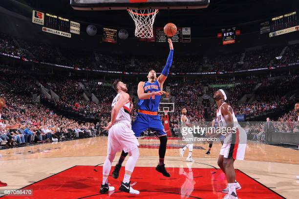 Willy Hernangomez of the New York Knicks shoots a lay up during the game against the Portland Trail Blazers on March 23 2017 at the Moda Center in...