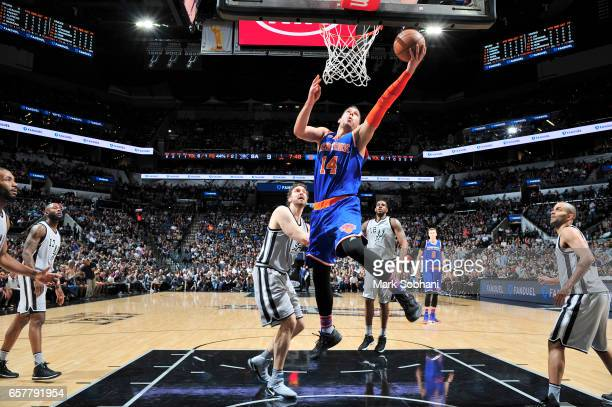 Willy Hernangomez of the New York Knicks shoots a lay up during the game against the San Antonio Spurs on March 25 2017 at the ATT Center in San...