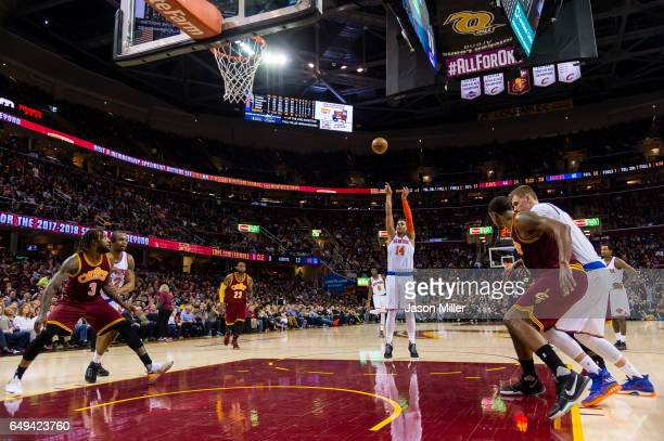 Willy Hernangomez of the New York Knicks shoots from the freethrow line during the first half against the Cleveland Cavaliers at Quicken Loans Arena...