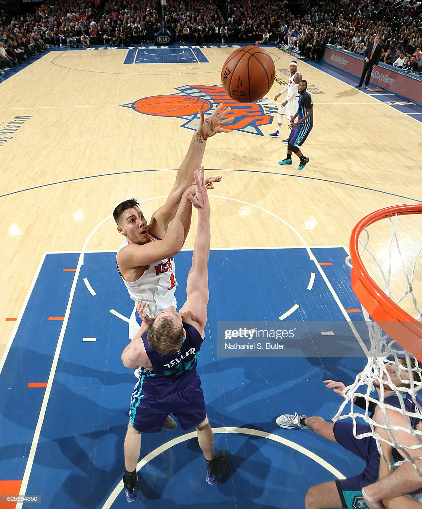 Willy Hernangomez #14 of the New York Knicks shoots the ball against the Charlotte Hornets at Madison Square Garden in New York, New York.