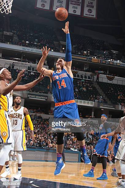 Willy Hernangomez of the New York Knicks shoots the ball against the Indiana Pacers on January 23 2017 at Bankers Life Fieldhouse in Indianapolis...