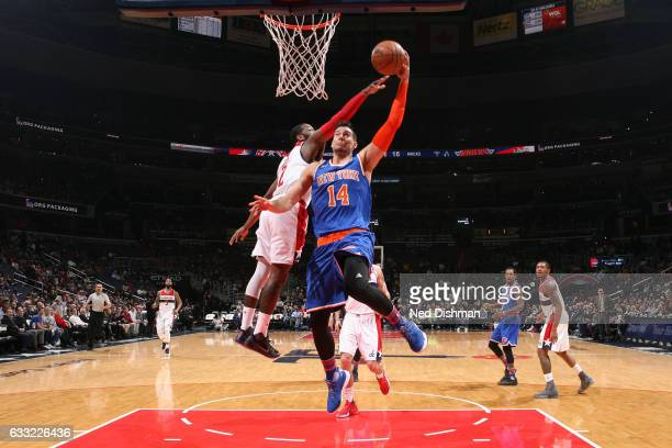 Willy Hernangomez of the New York Knicks shoots the ball against the Washington Wizards on January 31 2017 at Verizon Center in Washington DC NOTE TO...
