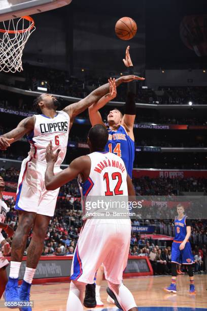 Willy Hernangomez of the New York Knicks shoots the ball against the LA Clippers on March 20 2017 at STAPLES Center in Los Angeles California NOTE TO...