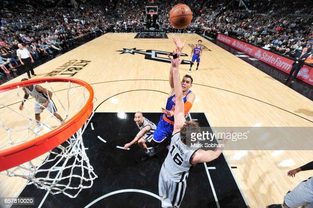 Willy Hernangomez of the New York Knicks shoots the ball during the game against the San Antonio Spurs on March 25 2017 at the ATT Center in San...