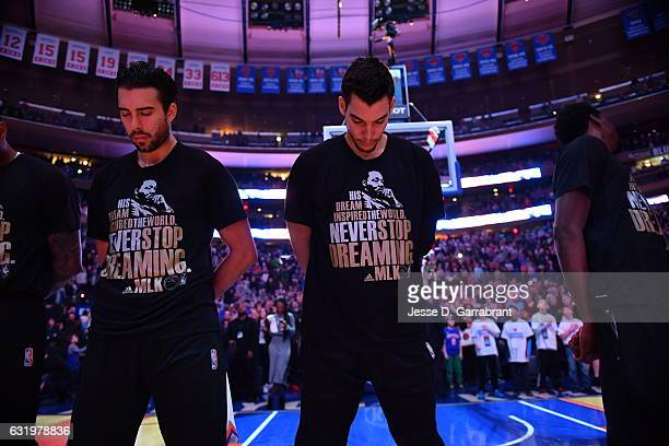 Willy Hernangomez of the New York Knicks stands on the court before the game against the Atlanta Hawks on January 16 2017 at Madison Square Garden in...